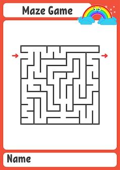 Planilha de labirinto quadrado para crianças