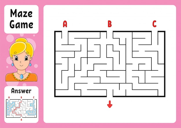 Planilha de labirinto retangular