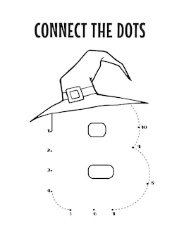 Planilha de letra do alfabeto de halloween de ponto a ponto para crianças