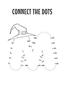 Planilha de letra do alfabeto de halloween de ponto a ponto para crianças Vetor Premium