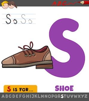 Planilha de letra s com sapato dos desenhos animados
