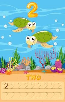 Planilha de número de duas tartarugas marinhas