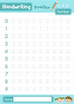 Planilha de números de prática de caligrafia