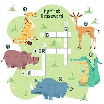 Planilha de palavras cruzadas em inglês para crianças