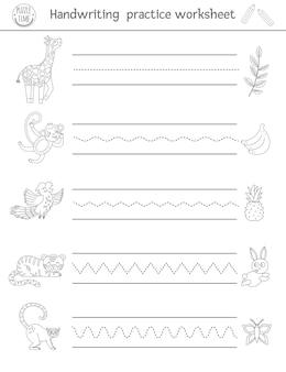 Planilha de prática de caligrafia. atividade em preto e branco para impressão para crianças em idade pré-escolar. jogo educativo para o desenvolvimento de habilidades de escrita.