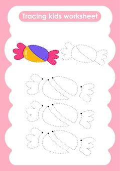 Planilha de prática de desenho e escrita de linhas candytrace para crianças