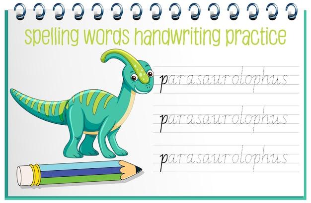 Planilha de prática de escrita à mão de dinossauro para soletrar palavras