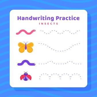 Planilha de prática de escrita à mão para insetos