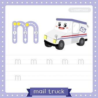 Planilha de prática de rastreamento de letra minúscula m caminhão do correio