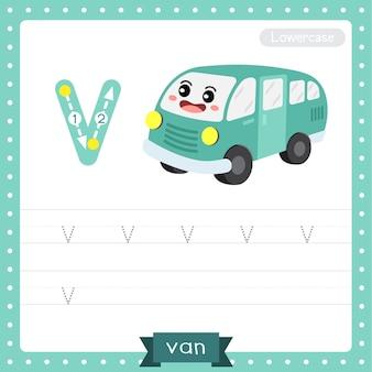 Planilha de prática de rastreamento de letra minúscula v. furgão
