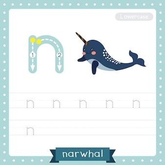Planilha de prática de rastreamento de letra n em minúsculas. narwhal azul escuro