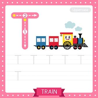 Planilha de prática de rastreamento de letras maiúsculas da letra t. trem
