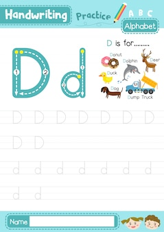 Planilha de prática de rastreamento de letras maiúsculas e minúsculas da letra d