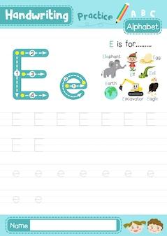 Planilha de prática de rastreamento de letras maiúsculas e minúsculas da letra e