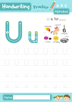 Planilha de prática de rastreamento de letras maiúsculas e minúsculas da letra u