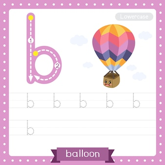 Planilha de prática de rastreamento de letras minúsculas da letra b. balão