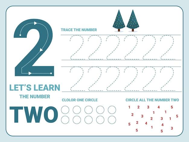 Planilha de prática de rastreamento número dois com 2 árvores de natal para crianças aprendendo a contar e escrever. planilha para aprender os números.