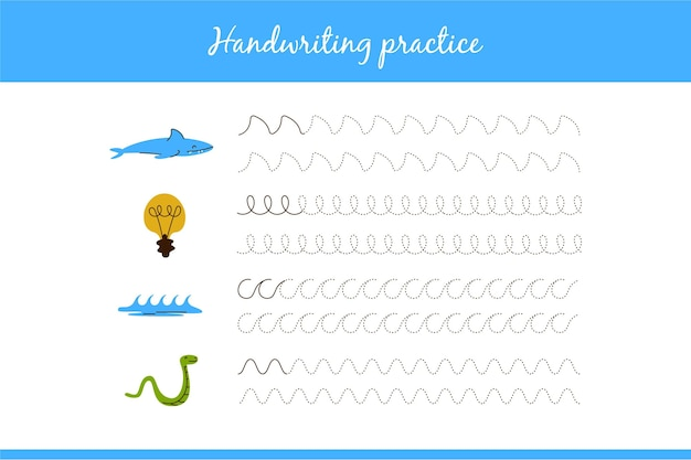 Planilha de prática educacional de caligrafia