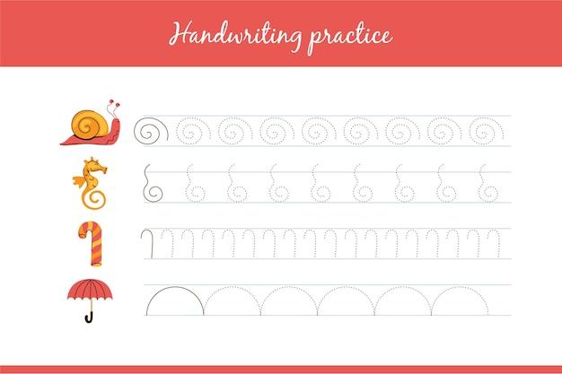 Planilha de prática educacional de caligrafia Vetor grátis