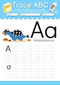 Planilha de rastreamento de alfabeto com a letra a do vocabulário de dinossauros
