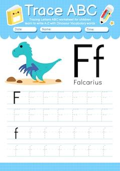 Planilha de rastreamento de alfabeto com a letra f do vocabulário de dinossauros