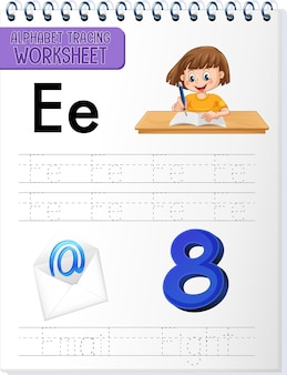 Planilha de rastreamento de alfabeto com letras e vocabulário