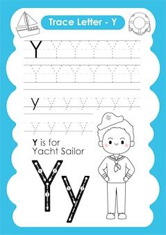 Planilha de rastreamento de alfabeto com vocabulário de ocupação por letter y yacht sailor