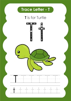 Planilha de rastreamento de alfabeto educacional com a letra t turtle