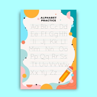 Planilha de rastreamento de alfabeto para crianças