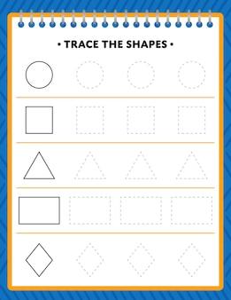 Planilha de rastreamento de formas para crianças