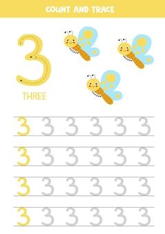 Planilha de rastreamento de números. escrevendo o número três. borboletas fofas.