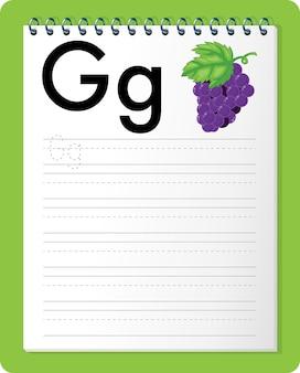 Planilha de rastreamento do alfabeto com as letras g e g
