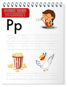 Planilha de rastreamento do alfabeto com as letras p e p