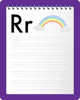 Planilha de rastreamento do alfabeto com as letras r e r