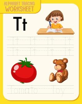 Planilha de rastreamento do alfabeto com as letras t e t