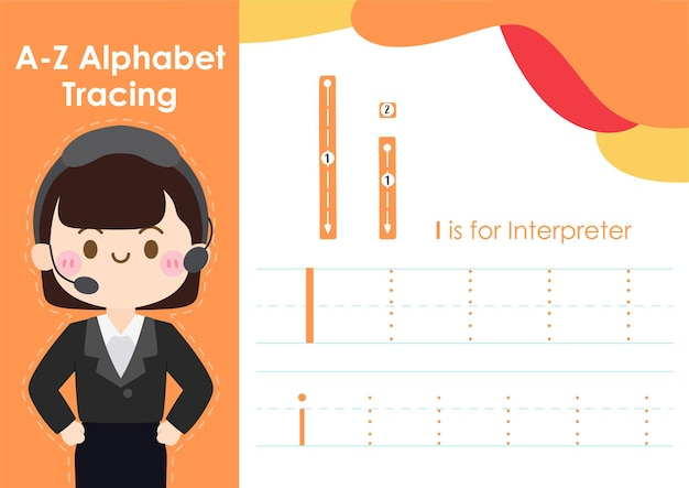 Planilha de rastreamento do alfabeto com ocupação do trabalho