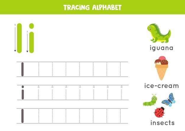 Planilha de rastreamento do alfabeto com todas as letras az. rastreando a letra i maiúscula e minúscula com inseto bonito dos desenhos animados, iguana, sorvete. jogo educativo de gramática.