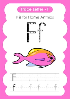 Planilha de rastreamento do alfabeto educacional com a letra f flame anthias