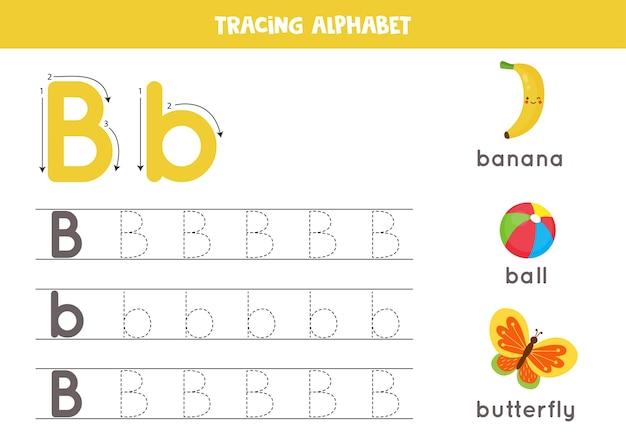 Planilha de rastreamento do alfabeto. páginas de escrita az. letra b maiúscula e minúscula traçando com desenho de borboleta, bola, banana. exercício de caligrafia para crianças. folha de trabalho para impressão.