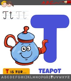Planilha educacional de letra t com bule de chá dos desenhos animados
