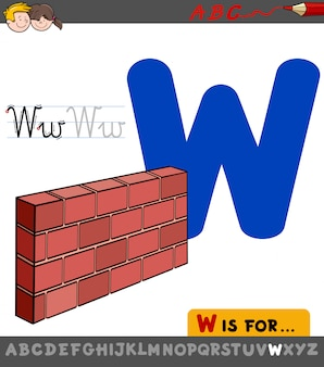 Planilha educacional de letra w com parede