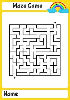 Planilha educacional do labirinto quadrado
