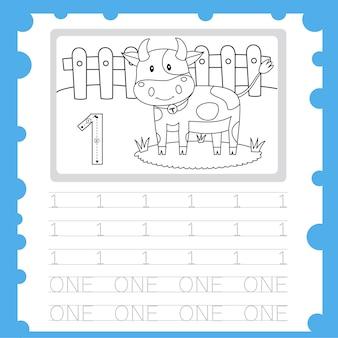 Planilha educacional número de prática de escrita e coloração para a criança um