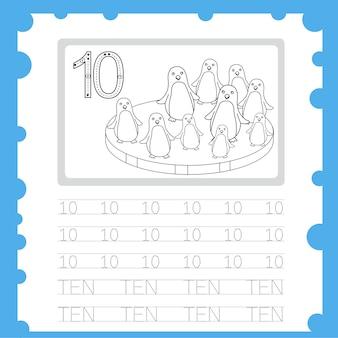 Planilha educacional número de prática de escrita e coloração para criança de dez