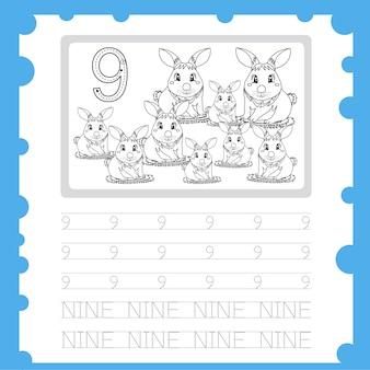 Planilha educacional número de prática de escrita e coloração para criança de nove