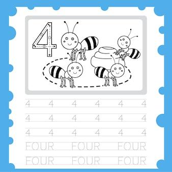 Planilha educacional número de prática de escrita e coloração para criança de quatro