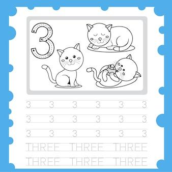 Planilha educacional número de prática de escrita e coloração para criança de três