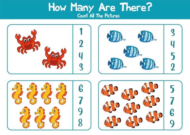 Planilha educacional para crianças em idade pré-escolar contagem de animais marinhos jogo de matemática para crianças