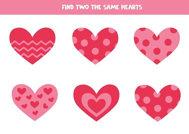 Planilha educacional para crianças. encontre dois corações iguais