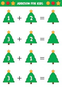 Planilha educacional para crianças prées-escolar. adição para crianças com árvores de natal.